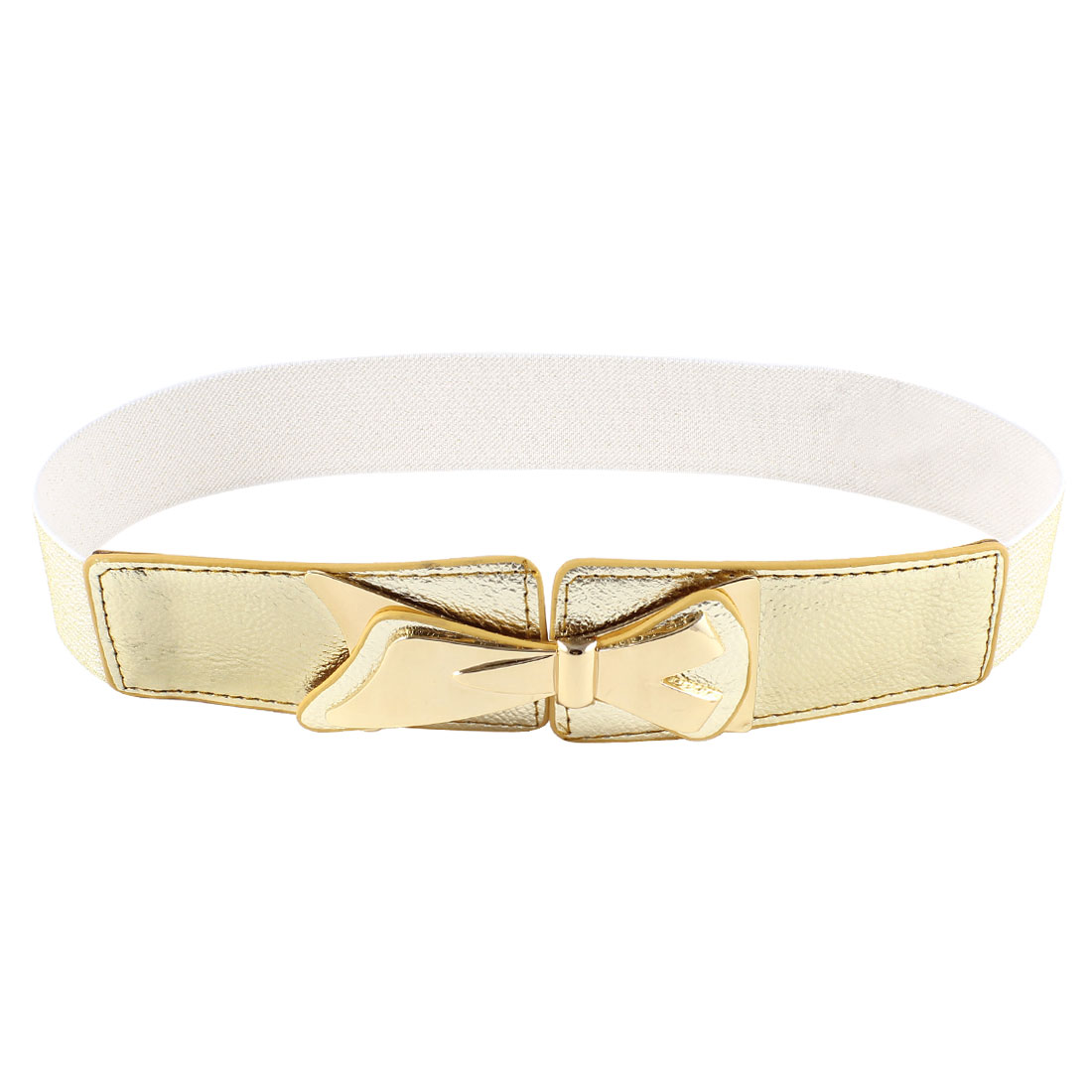 Gold Tone Bowtie Detail Textured Elastic Cinch Waist Belt for Women Woman