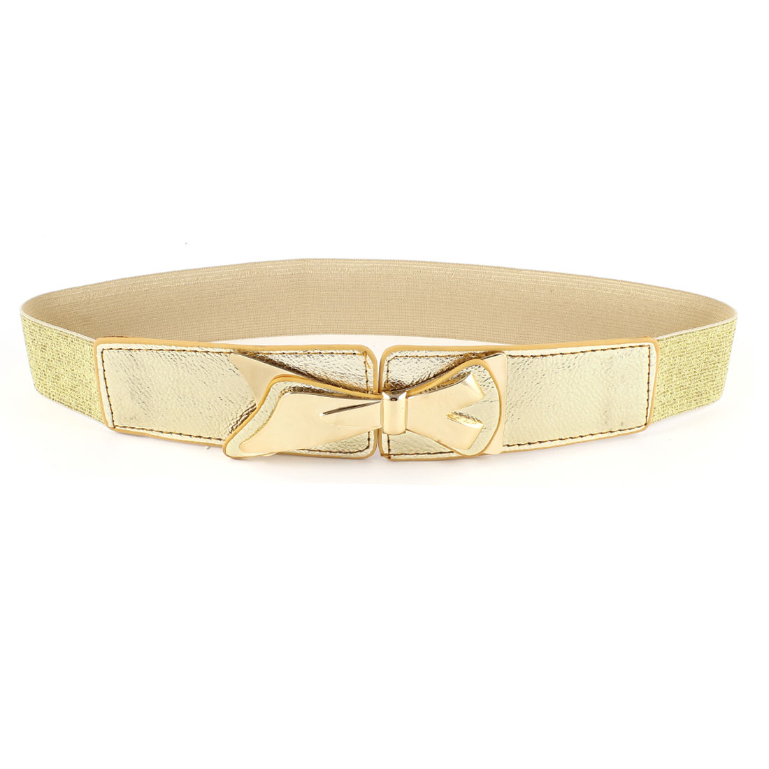 Gold Tone Bowknot Decor Faux Leather Interlock Buckle Elastic Belt for Lady