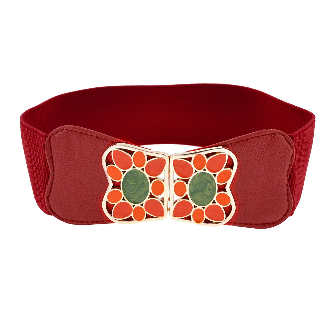 Colored Painted Metel Interlocking Buckle 6cm Width Elastic Waistband Red