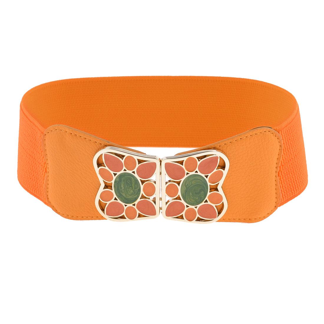 Colored Painted Metel Interlocking Buckle 6cm Width Elastic Waistband Orange