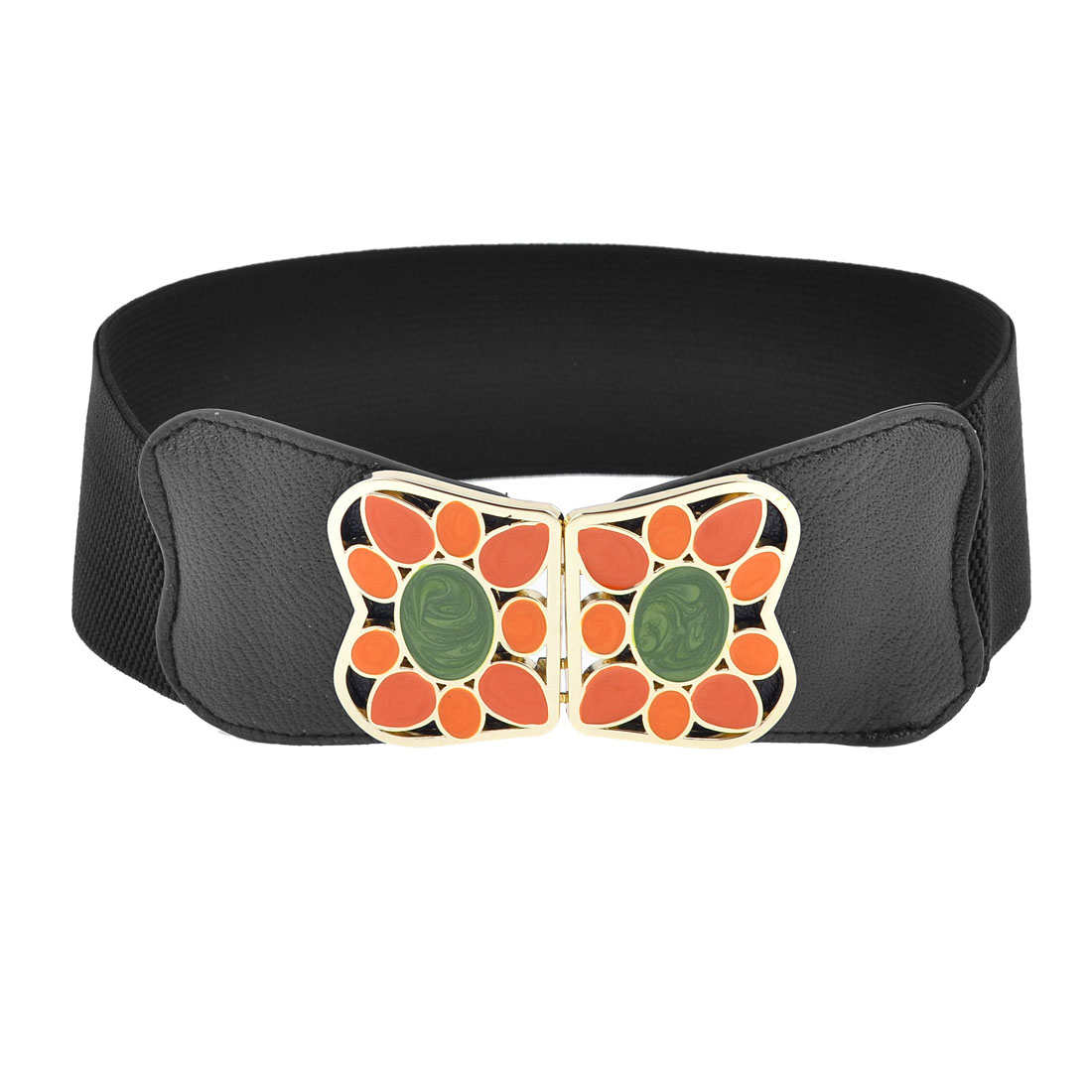 Colored Painted Metel Interlocking Closure 6cm Width Black Elastic Waistband Belt
