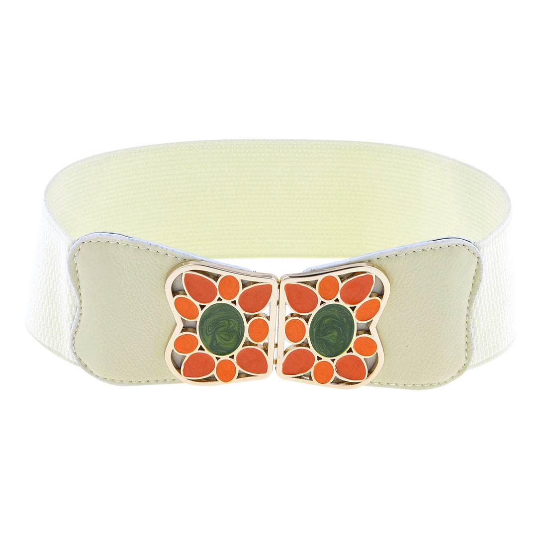 Colored Painted Metel Interlocking Buckle 6cm Width Elastic Waistband Belt White