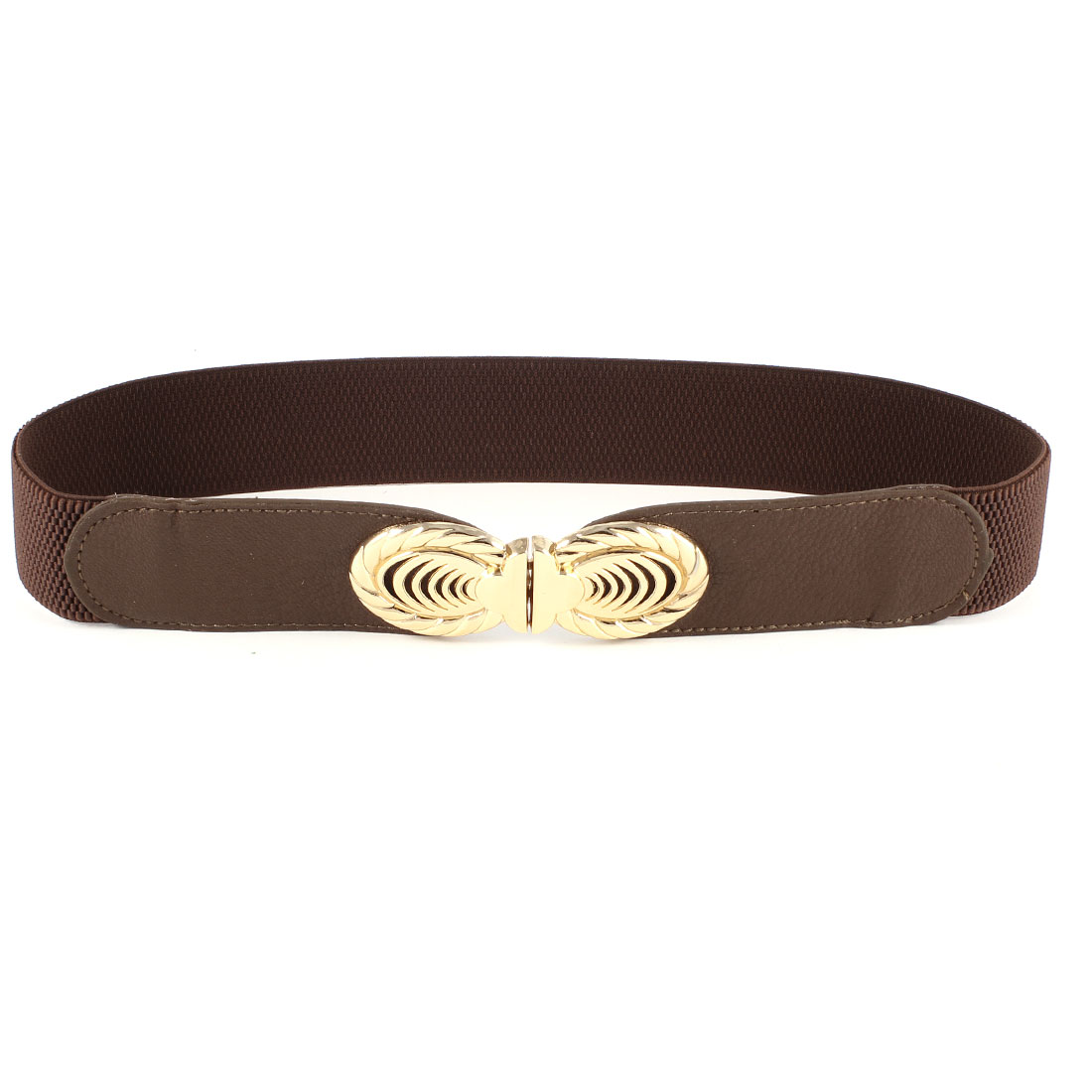 Women Dark Brown Gold Tone Oval Interlocking Buckle Elastic Skinny Waist Belt