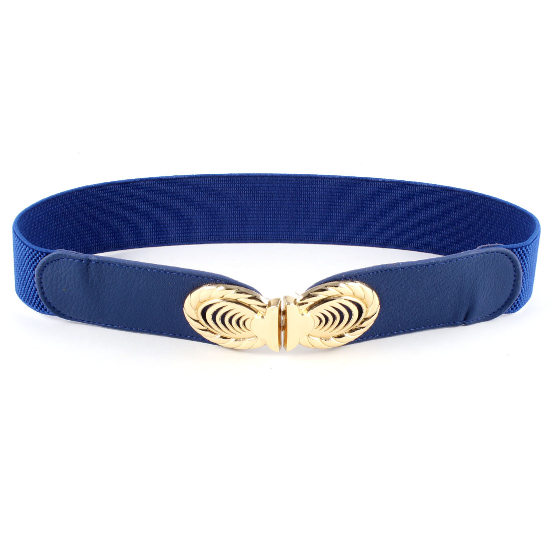 Oval Interlocking Buckle Blue Faux Leather Stretchy Skinny Waist Belt for Women