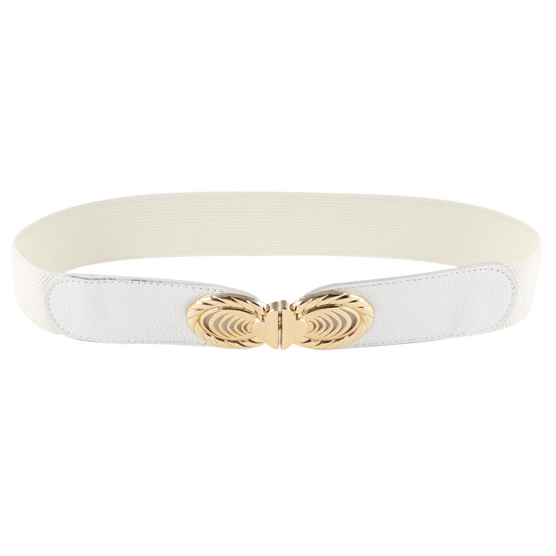White Gold Tone Oval Interlock Closure Elastic Waistband Skinny Belt for Ladies