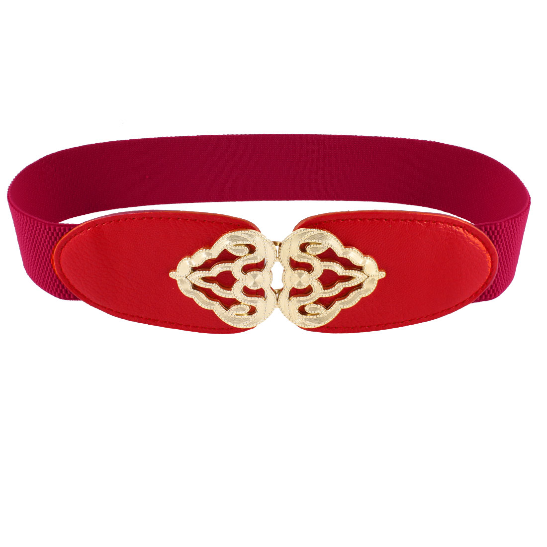 Interlocking Closure Elastic Waistband Cinch Belt 4CM Width Red for Woman
