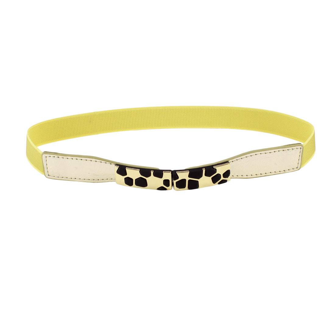 Block Design Metal Interlocking Buckle Stretchy Waist Belt Yellow for Ladies