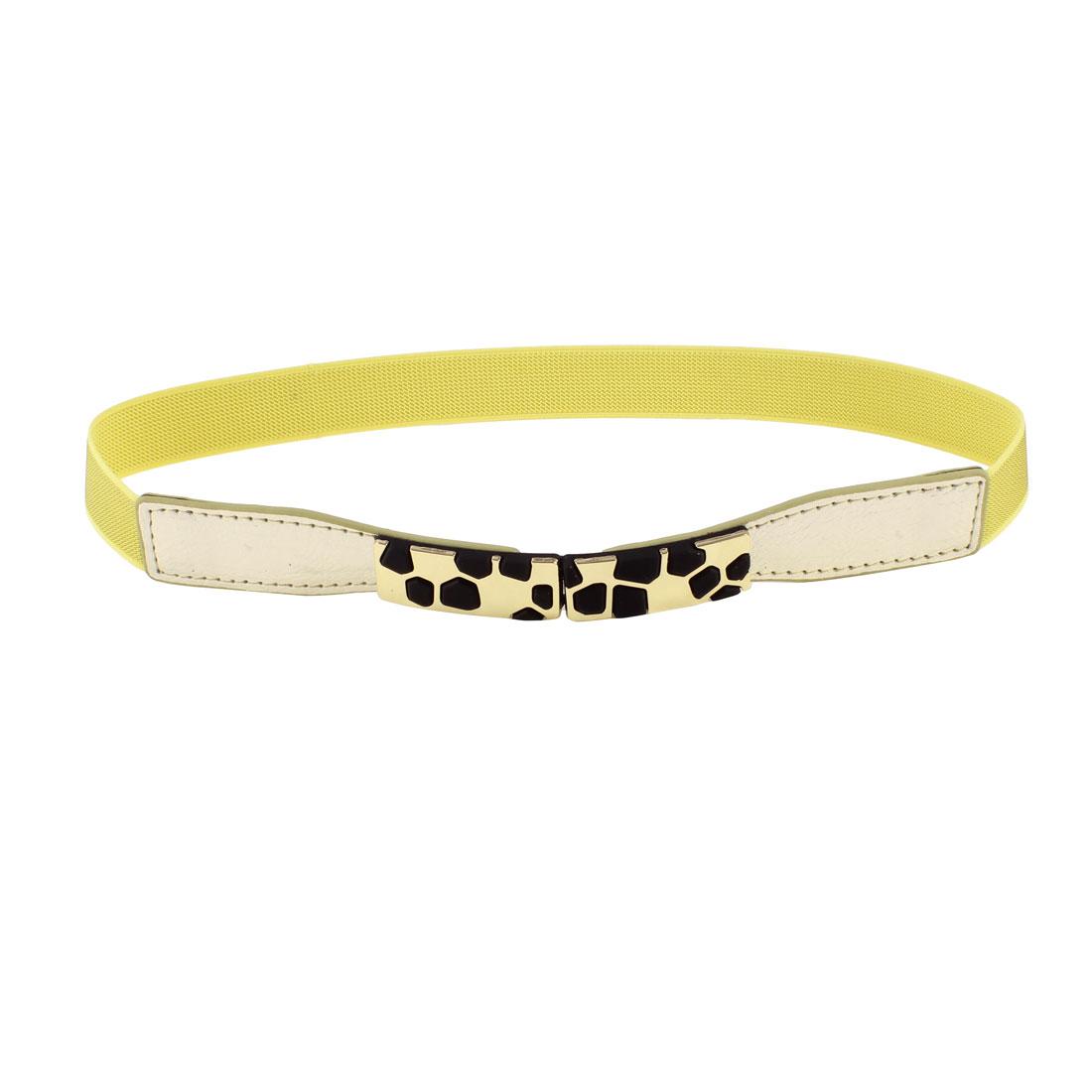 Block Design Metal Interlocking Buckle Stretchy Waist Belt Yellow for Ladies