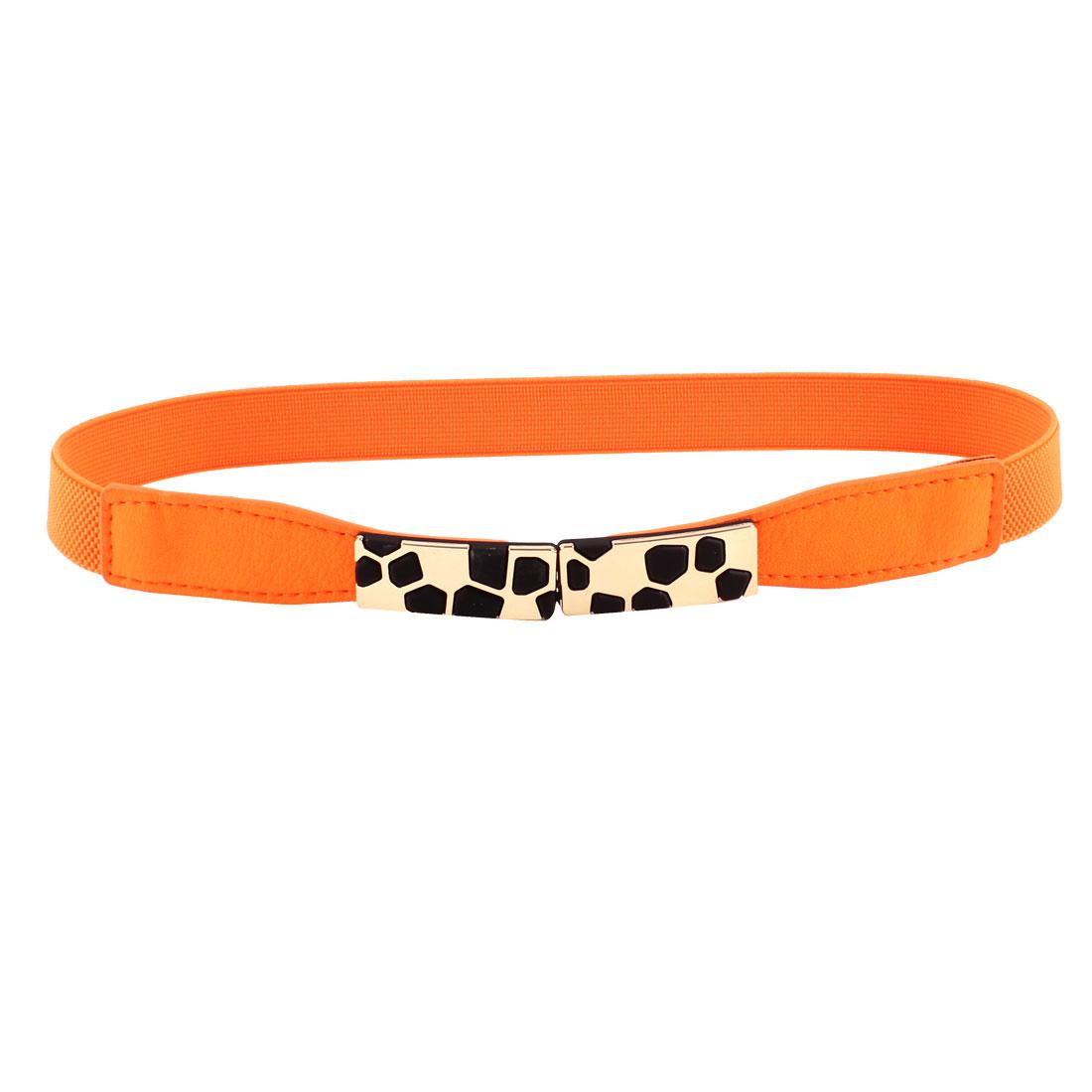 Block Design Metal Interlocking Buckle Stretchy Waist Belt Orange for Ladies