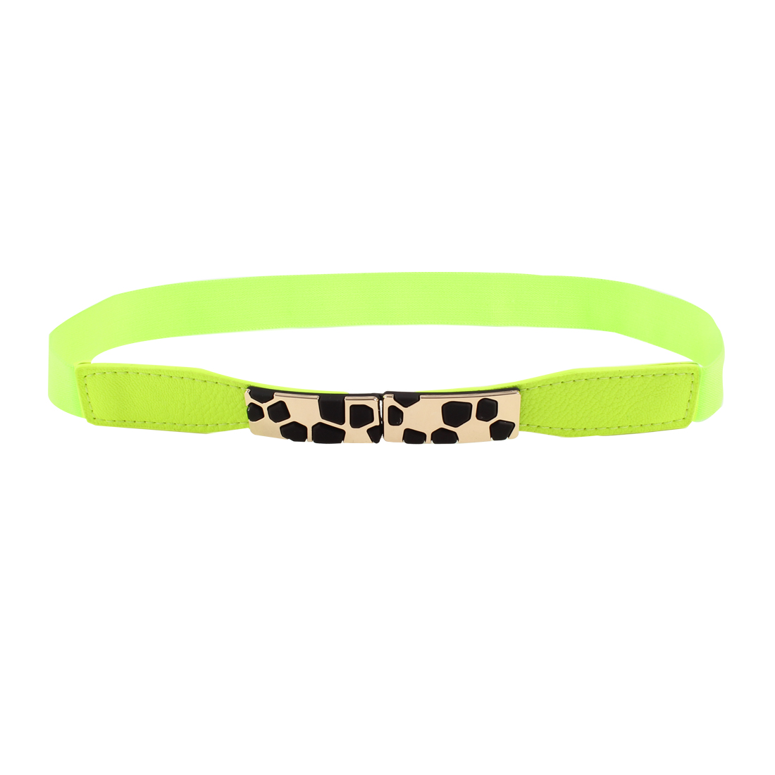 Block Design Metal Interlocking Buckle Stretchy Waist Belt Green for Ladies