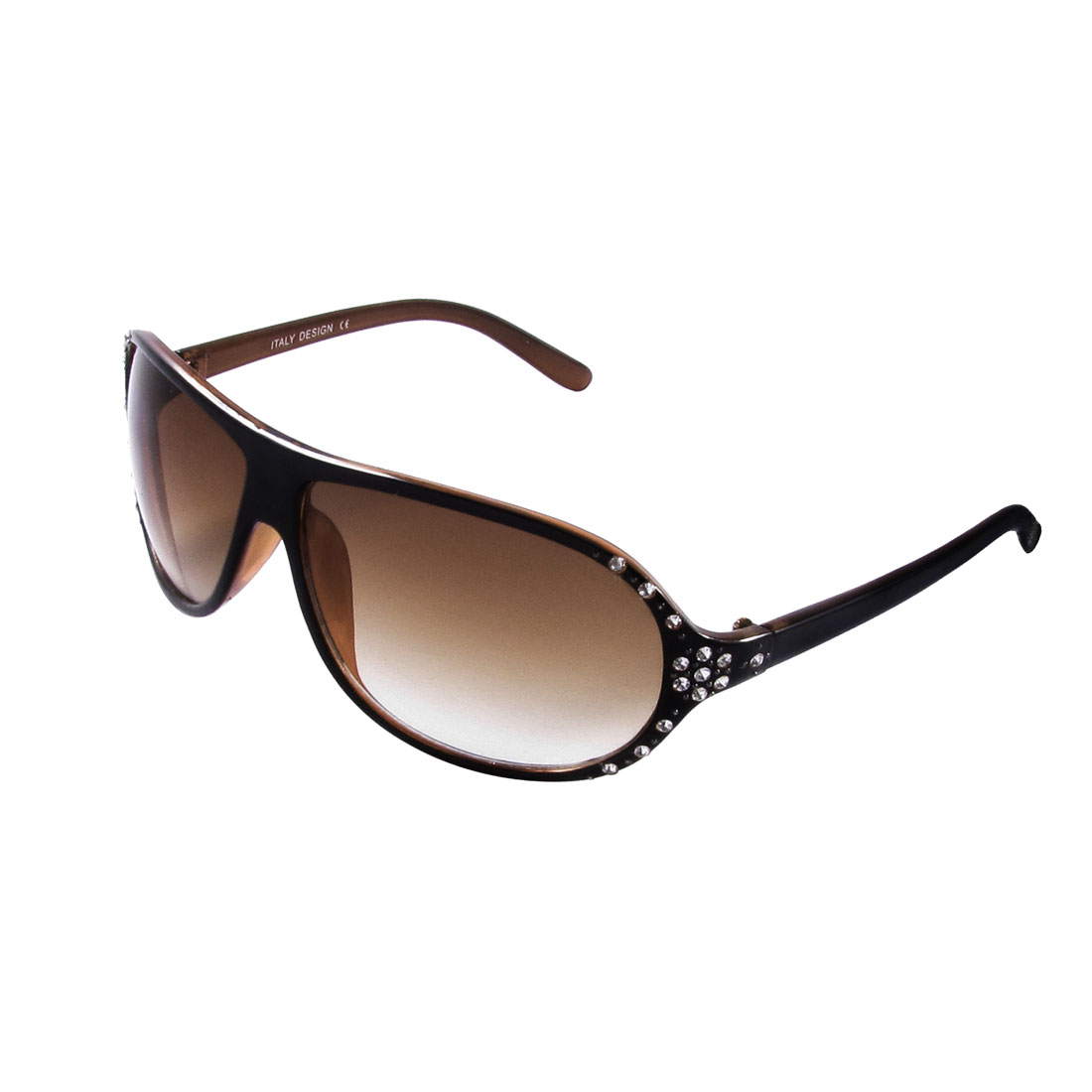 Lady Rhinestones Cluster Flower Decor Black Brown Rimmed Plastic Arms Sunglasses
