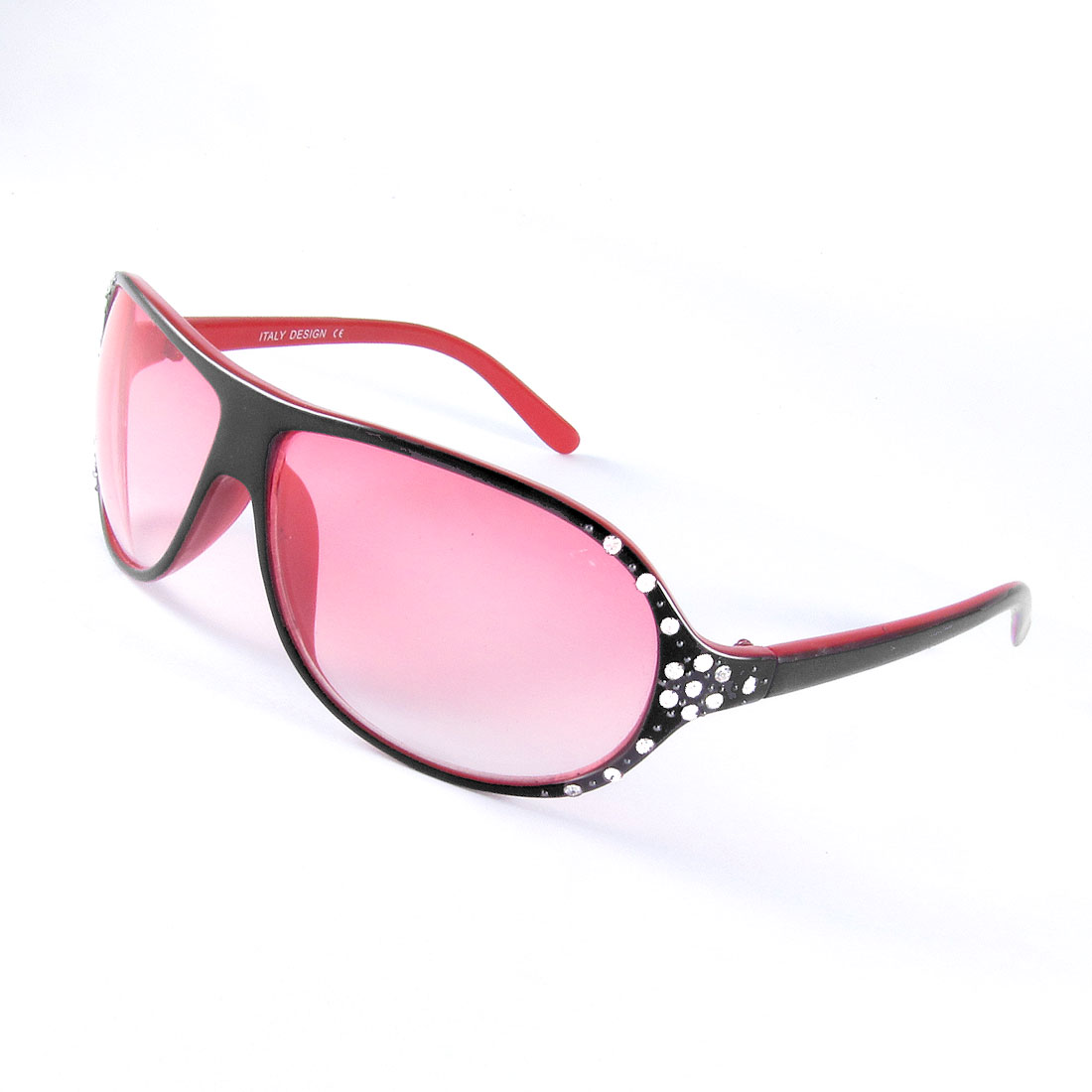 Rhinestones Inlaid Red Black Plastic Frame Gradient Lens Sunglasses for Women
