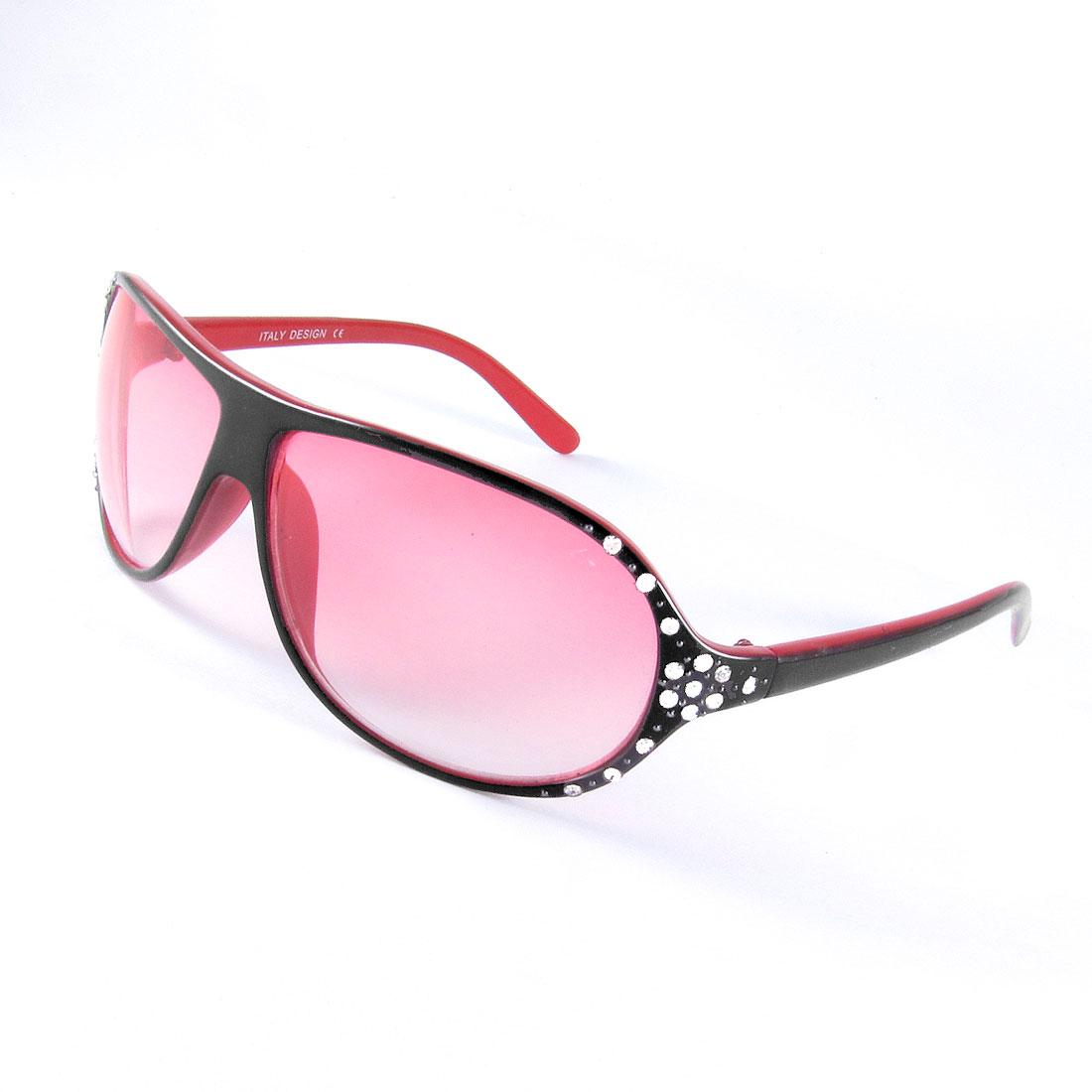 Rhinestones Inlaid Red Black Plastic Frame Gradient Lens Sunglasses for Women