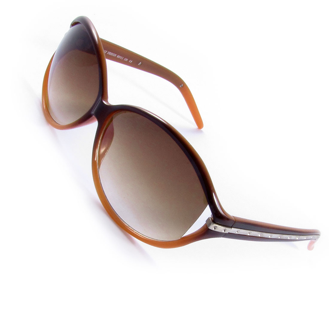 Woman Orange Brown Full Frame Plastic Single Bridge Colored Lens Sunglasses NEW