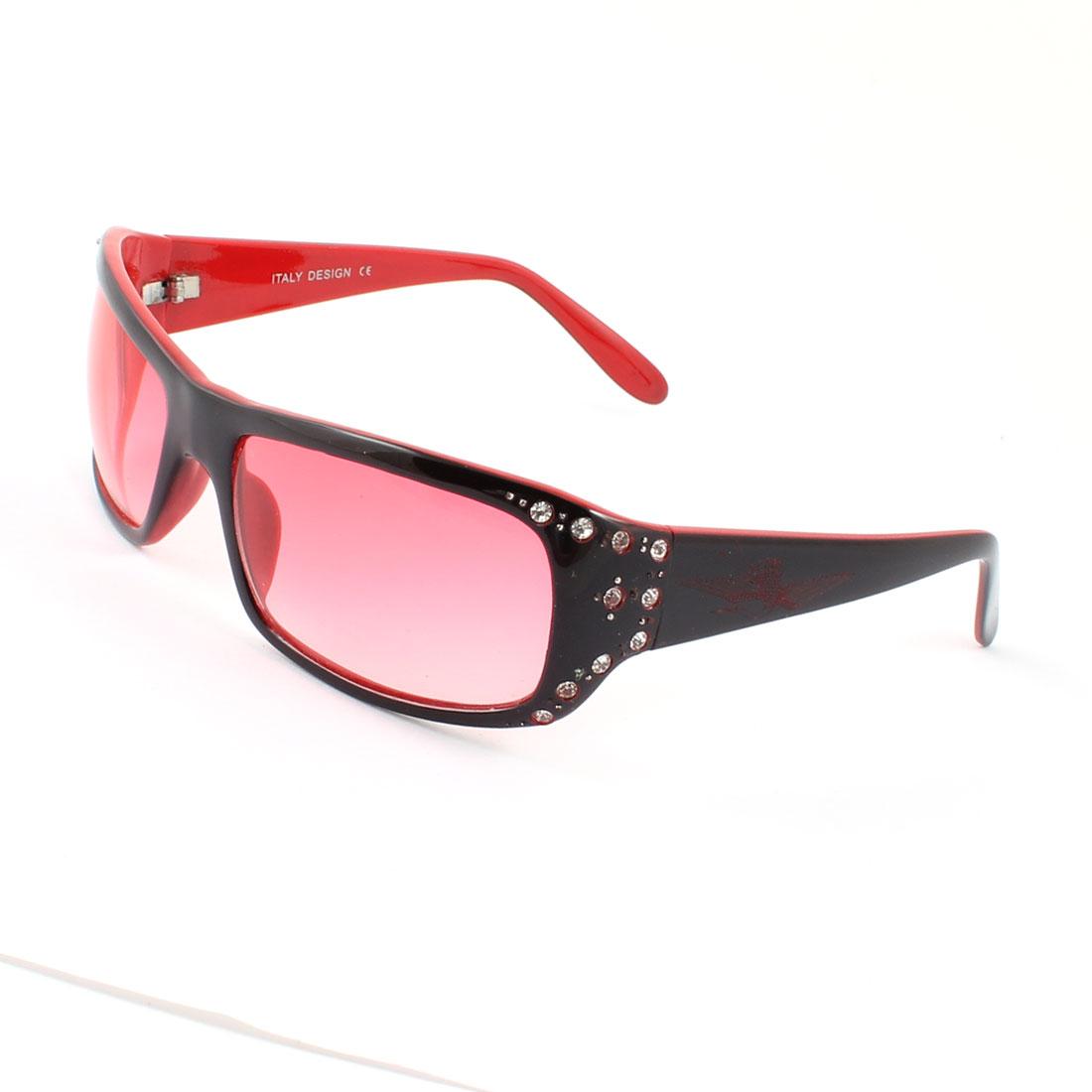 Black Red Plastic Full Frame Fuchsia Gradient Lens Glasses Sunglasses for Woman