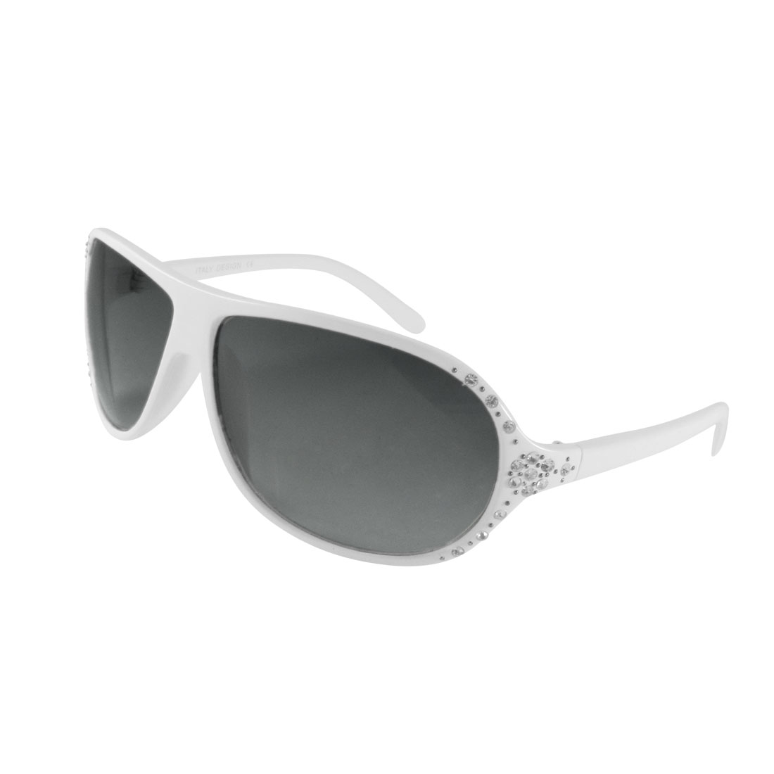 Rhinestones Detailing White Full Rim Single Bridge Sunglasses Eyewear for Ladies