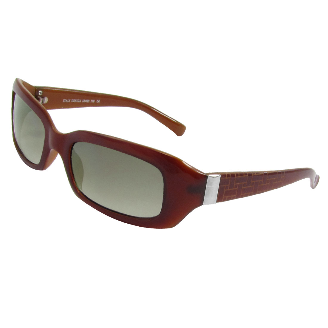 Wall Pattern Wide Temple Brown Plastic Rimmed Sunglasses Eyeglasses for Woman