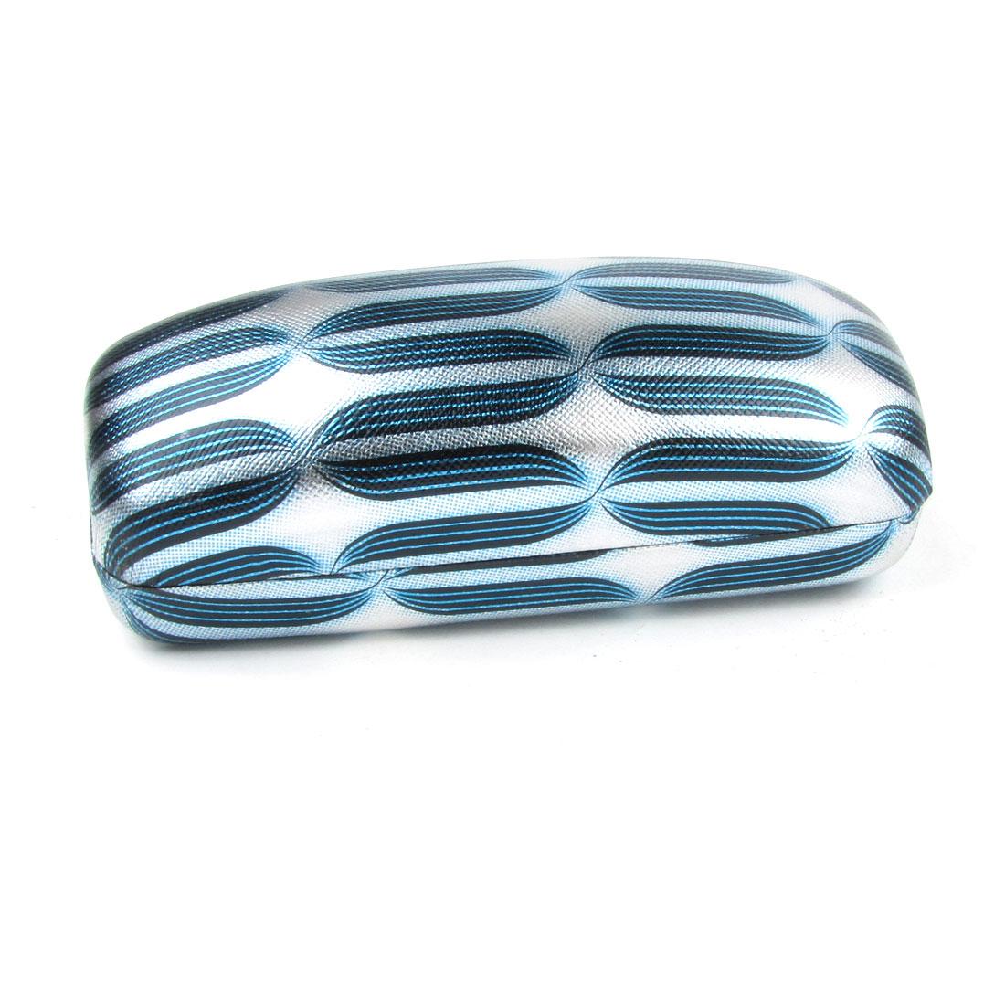 "6"" Long Black Blue Stripes Pattern Silver Tone Faux Leather Wrapped Glasses Box"