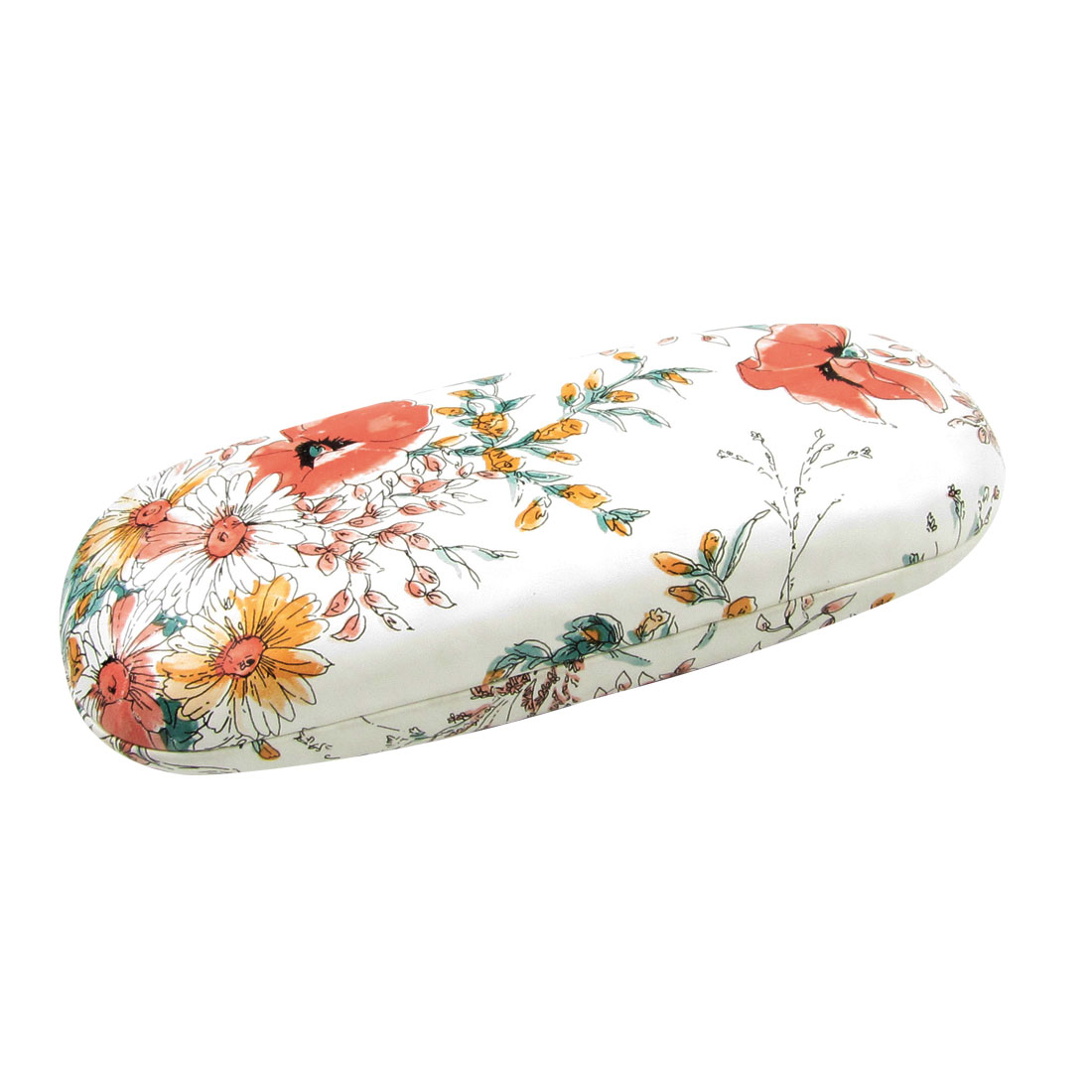 "6.3"" Length Orange Flowers Print White Faux Leather Eyeglasses Case Holder"