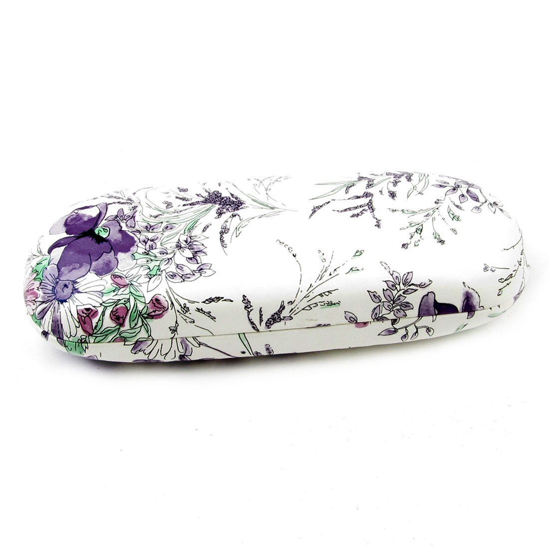 Spring Hinge Flannel Lining White Purple Faux Leather Coated Glasses Box Case