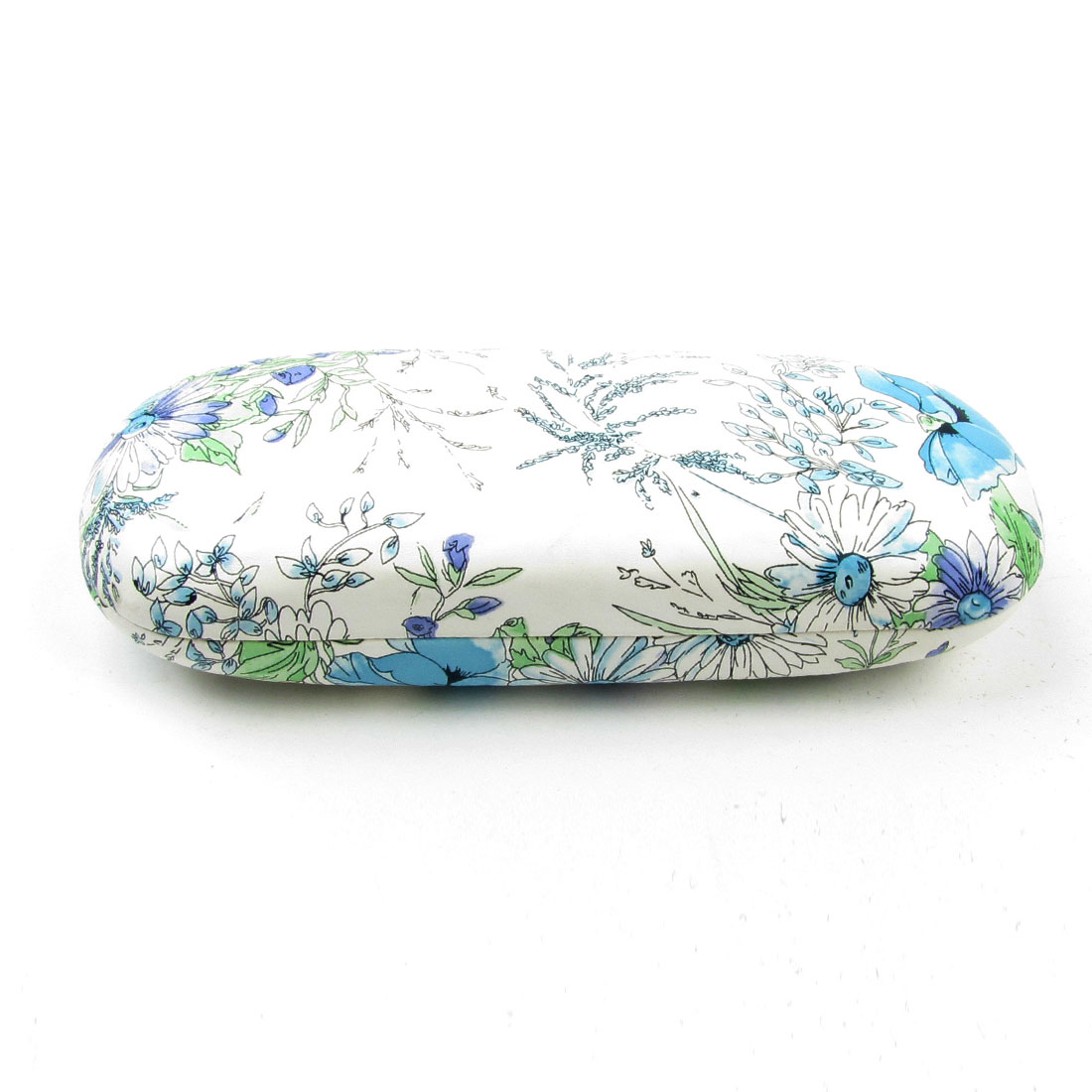 "6.3"" Length Blue Flowers Print White Faux Leather Eyeglasses Case Container"