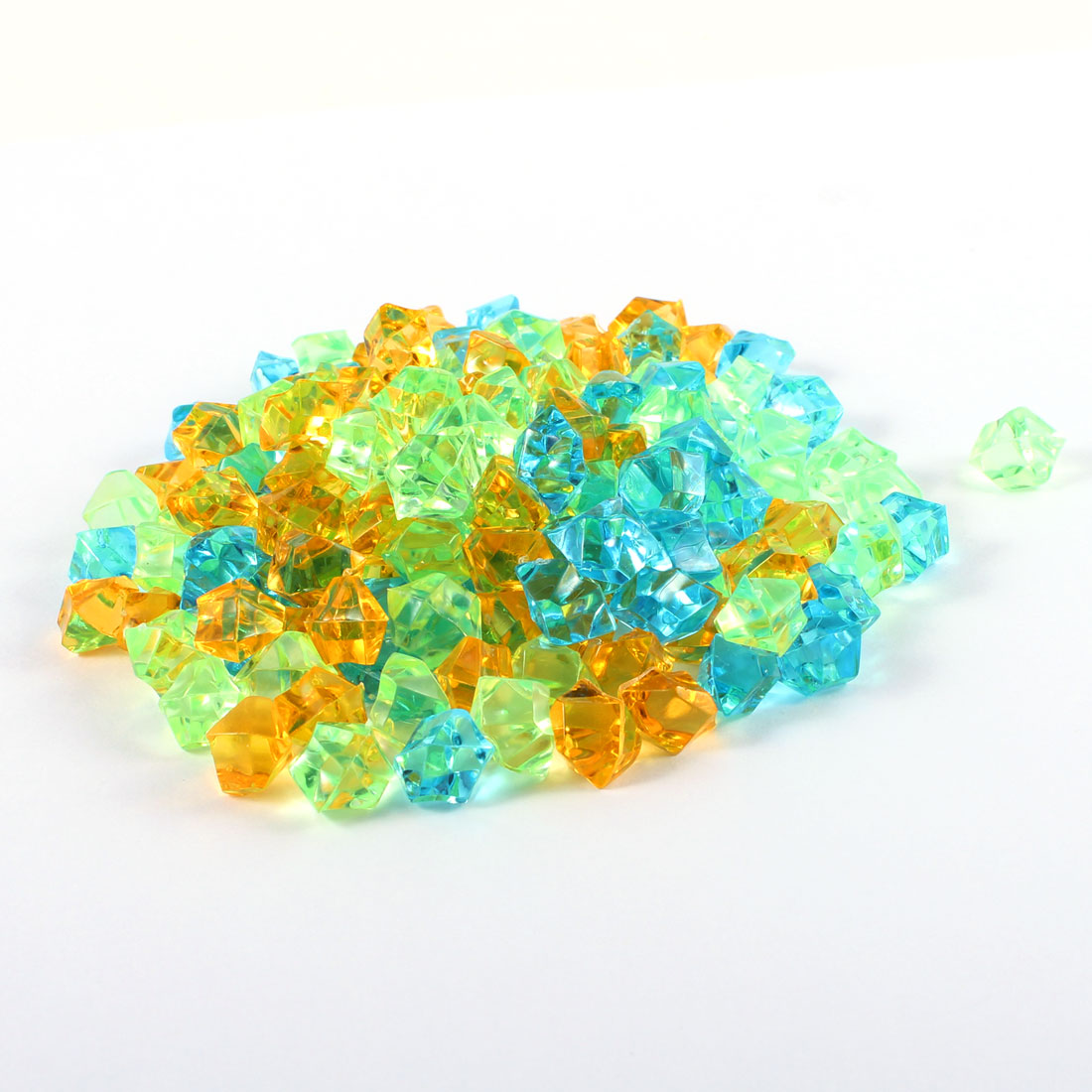 150PCS Aquariums Fish Tank Irregular Plastic Crystal Stones Decor Yellow Green Blue