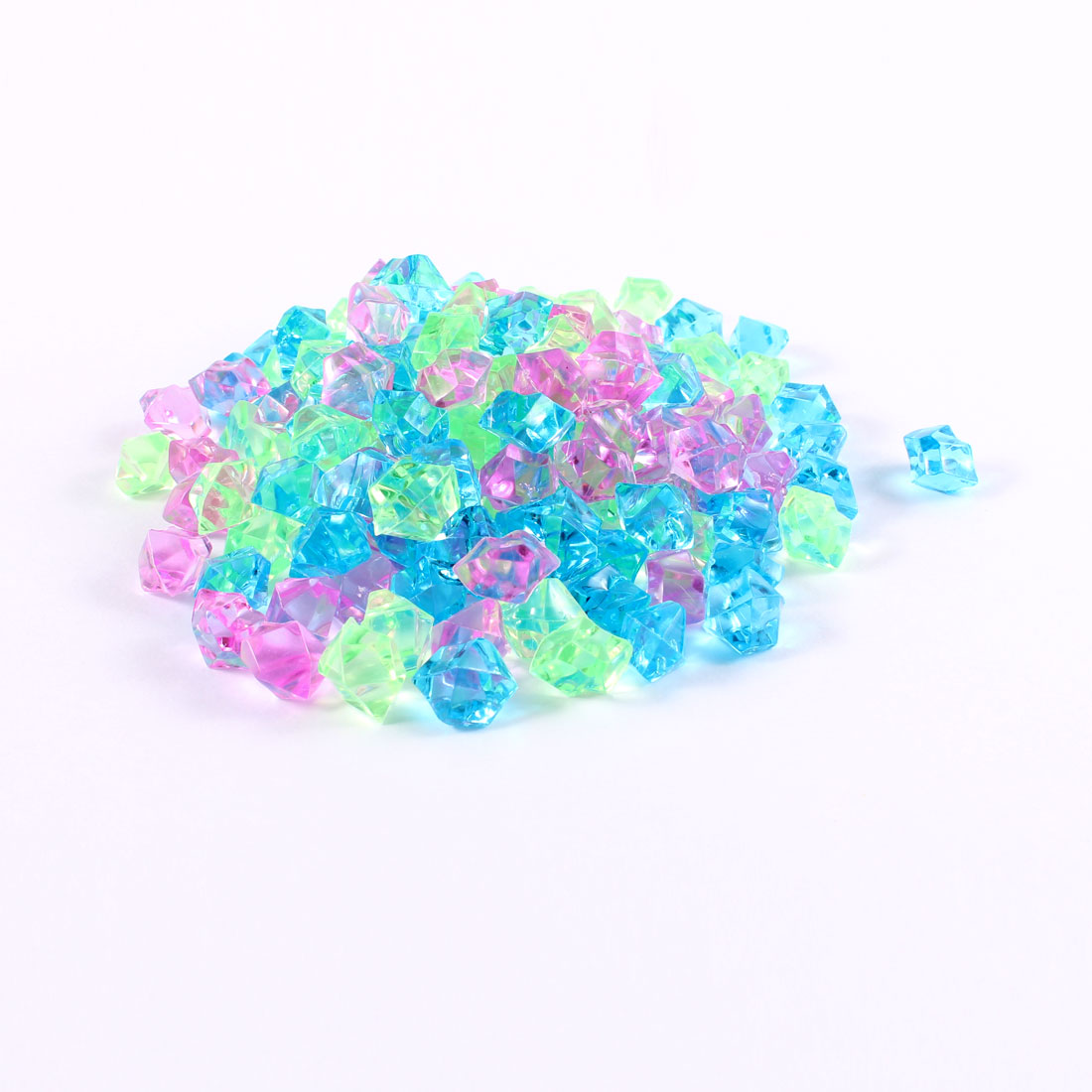 150 Pcs Blue Green Pink Irregular Faceted Crystal Stones Ornament for Fish Tank