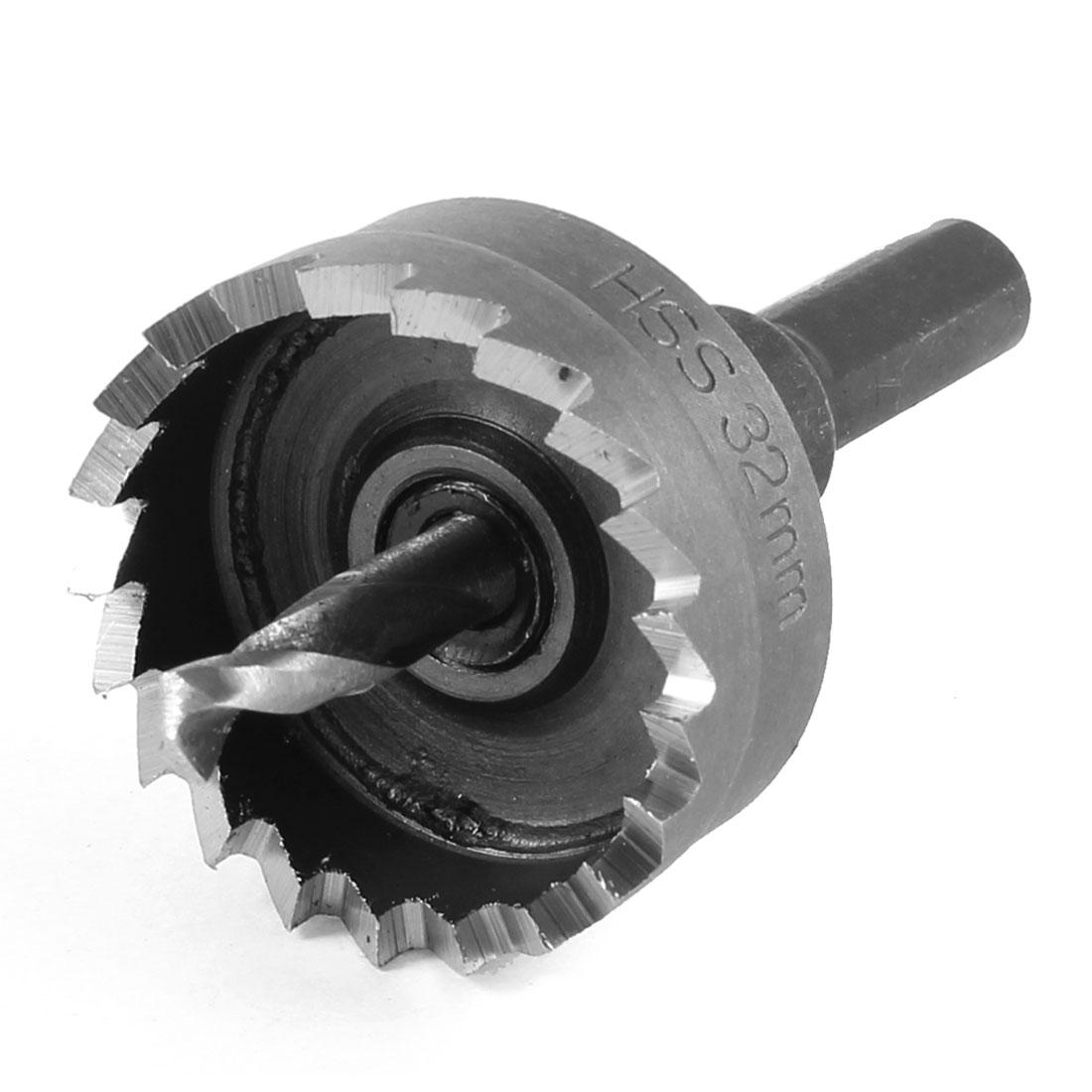 HSS Triangle Shank 32mm Dia Iron Cutting Hole Saw Twist Drill Bit 65mm Long