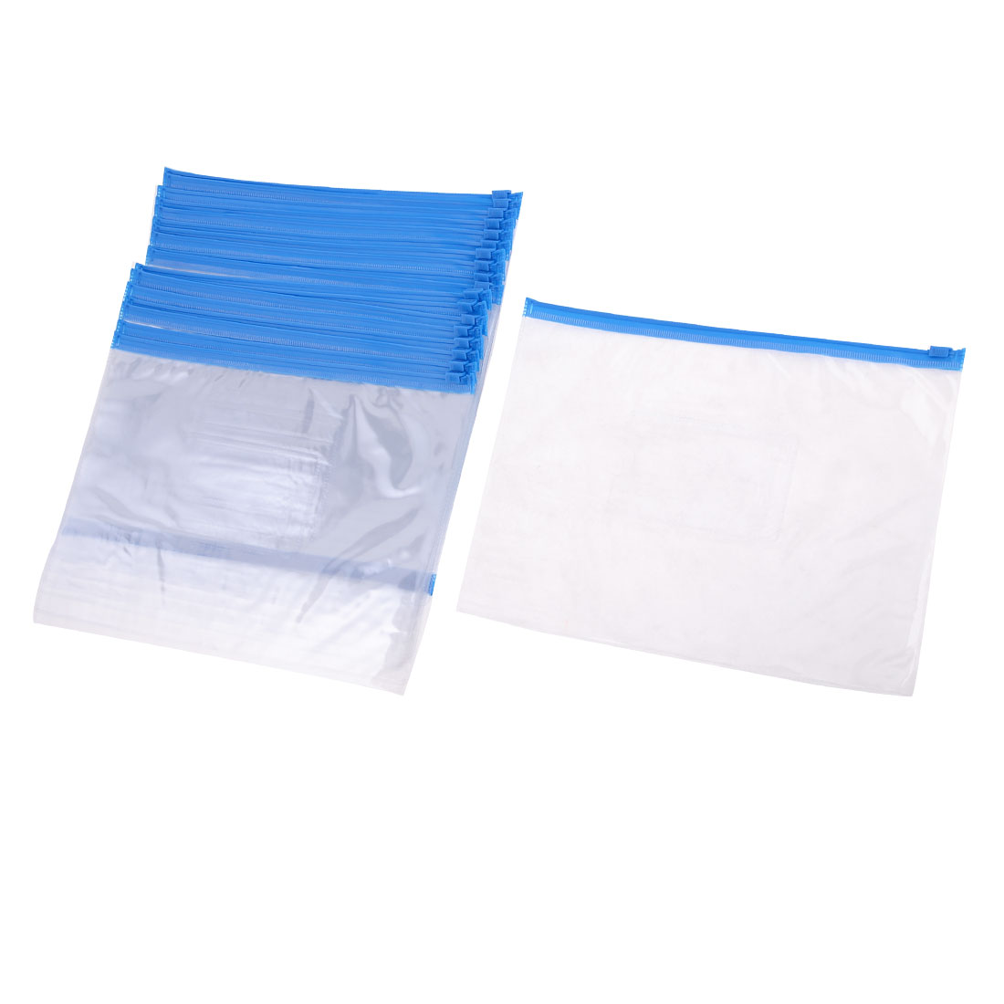 Office Blue Clear Size A5 Paper Slider Zip Closure Folders Files Bags 20 Pcs