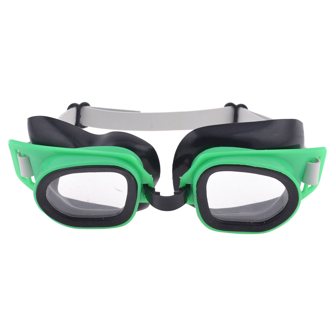 Children Plastic Frame Elastic Strap Swimming Goggles Spectacles Green Black