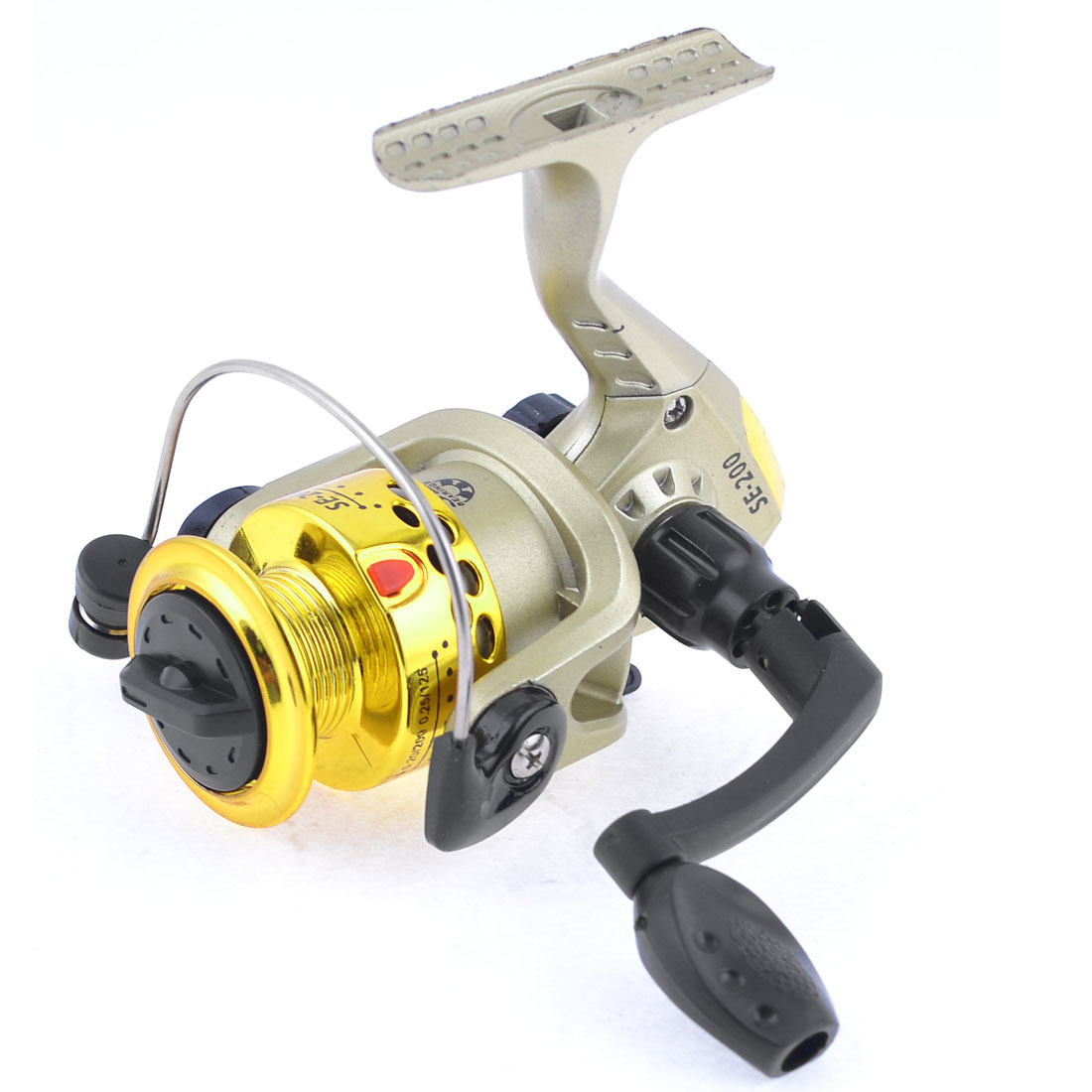 Folding Handgrip Gear Ratio 5.2:1 Angling Spinning Reel Gold Tone Black