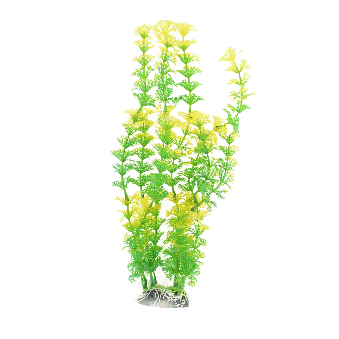 Green Yellow Snowflower Shaped Aquarium Decor Ceramic Base Aquatic Plant