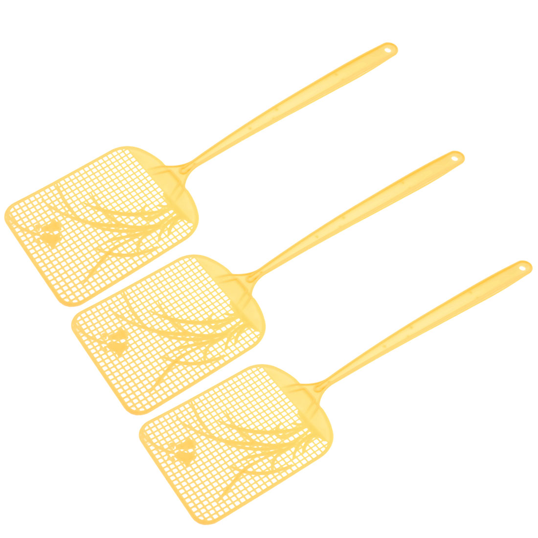 3 Pcs Yellow Plastic Long Handle Mosquito Cockroach Tool Fly Swatter