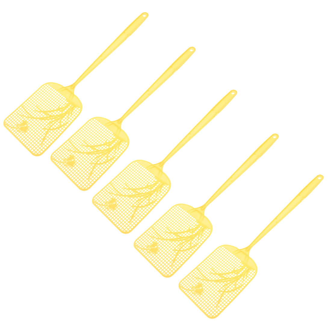 5 Pcs Yellow Plastic Long Handle Mosquito Cockroach Tool Fly Swatter