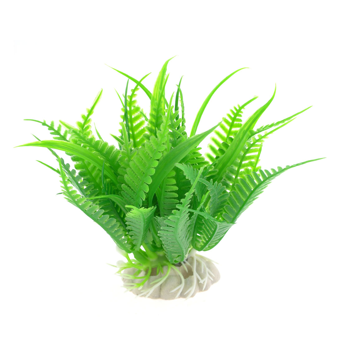 Aquarium Fish Tank Ornament Green Plastic Water Plant Grass w Ceramic Base