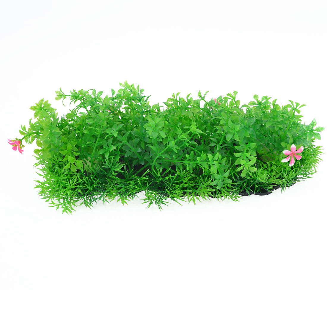 Oval Shaped Green Plastic Aquarium Ornament Grass Plant w Black Plastic Base