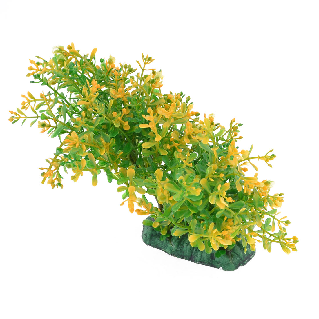 "Green Yellow Artificial Plastic Water Plants Decor 5.1"" High for Aquarium"
