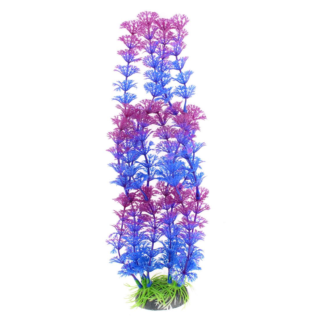 Purple Blue Snowflower Shaped Aquarium Decor Ceramic Base Aquatic Plant