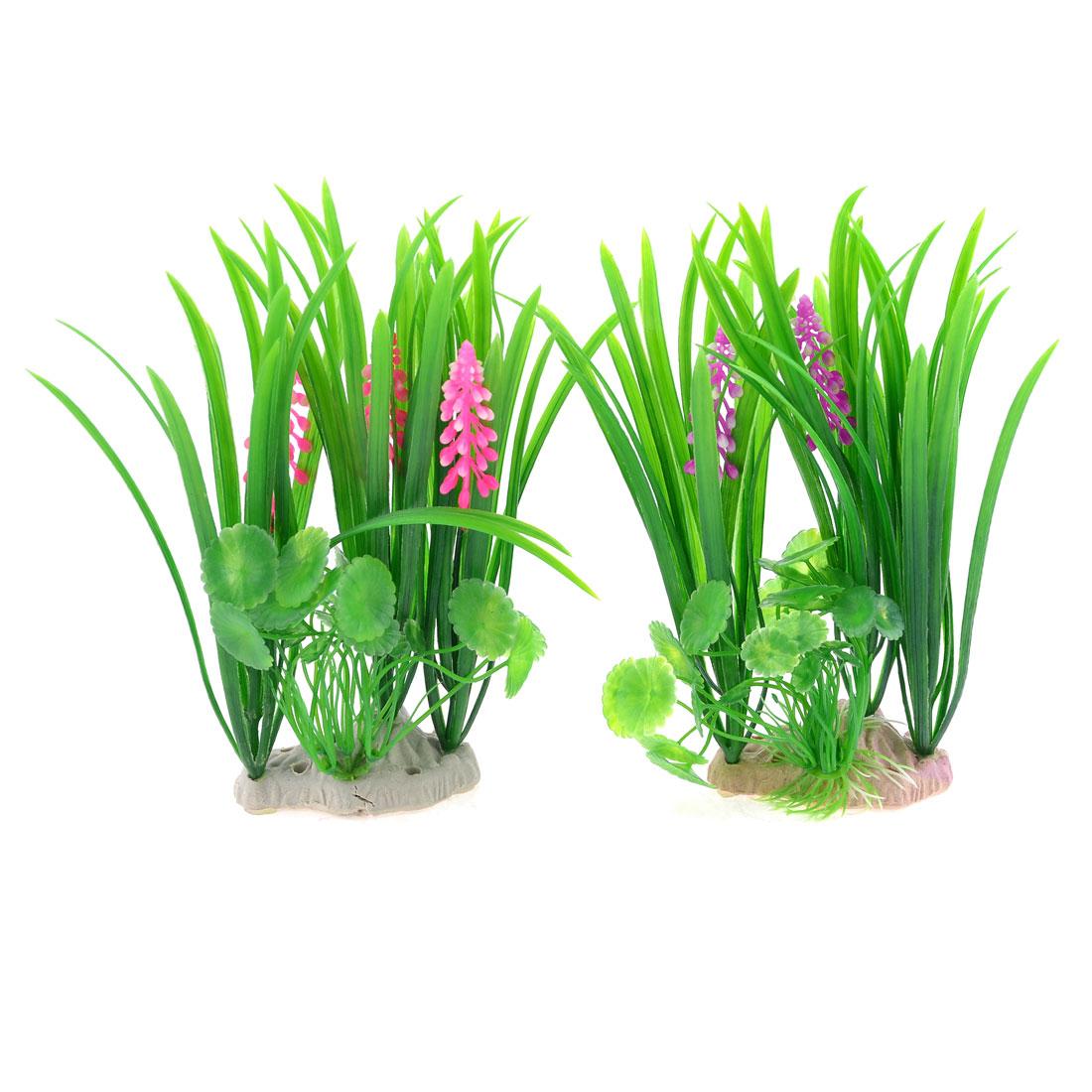 2 Pcs Fish Tank Fuchsia Purple Flower Decor Air Stone Base Plastic Aquatic Plant