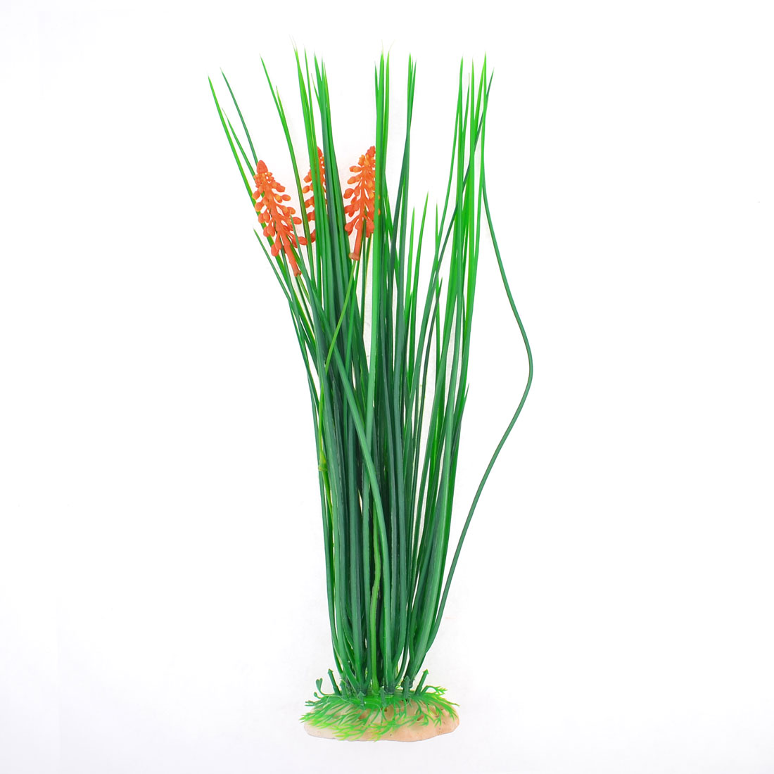 Aquarium Plastic Underwater Plant Leaf Grass Green Orange w Ceramic Base