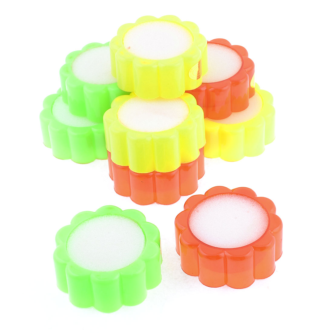 10 Pcs Colored Plastic Floral Shaped Case White Sponge Finger Wet for Cashie