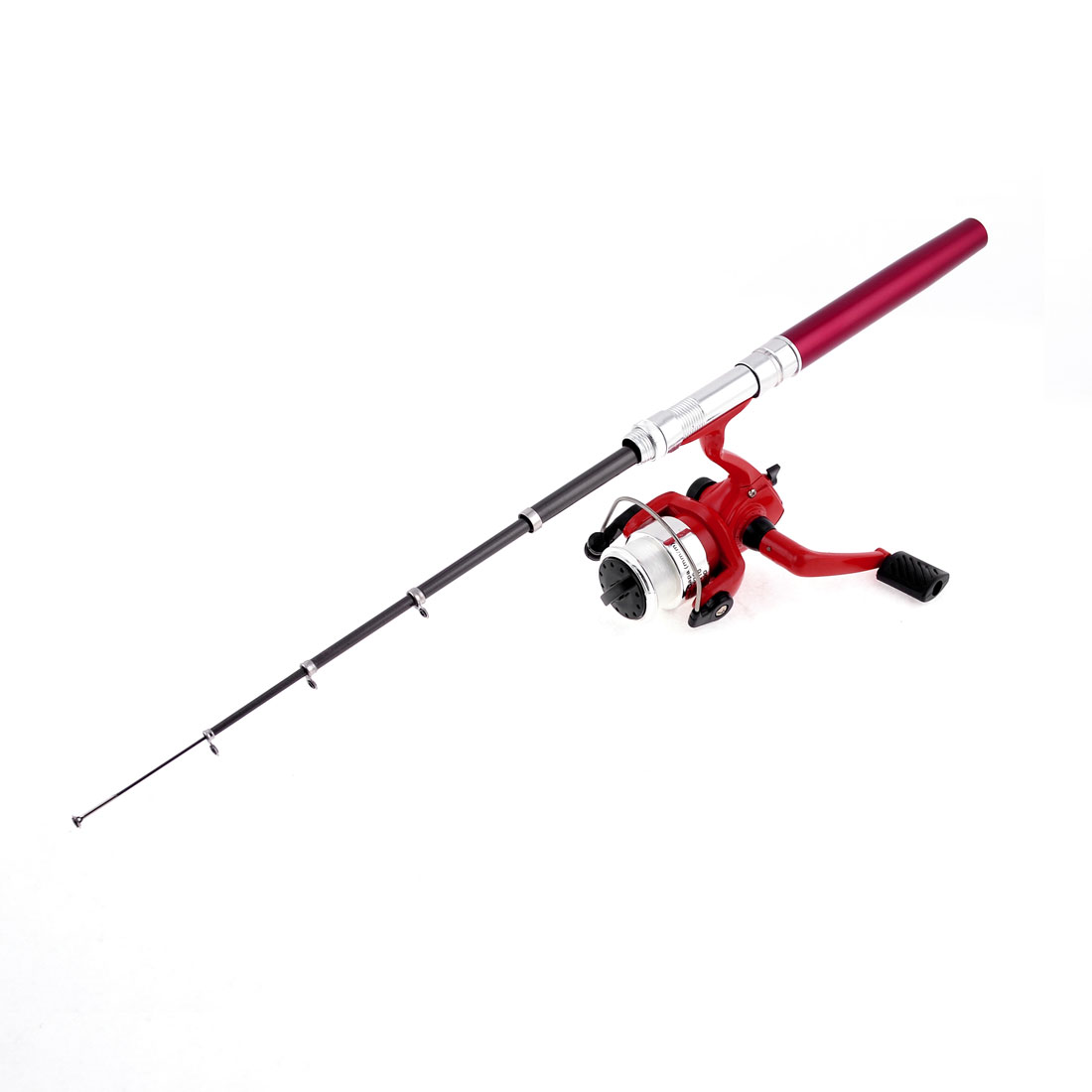 Red Pocket Mini Pen Shaped 5 Sections Telescopic Fishing Rod Pole w Spinning Reel