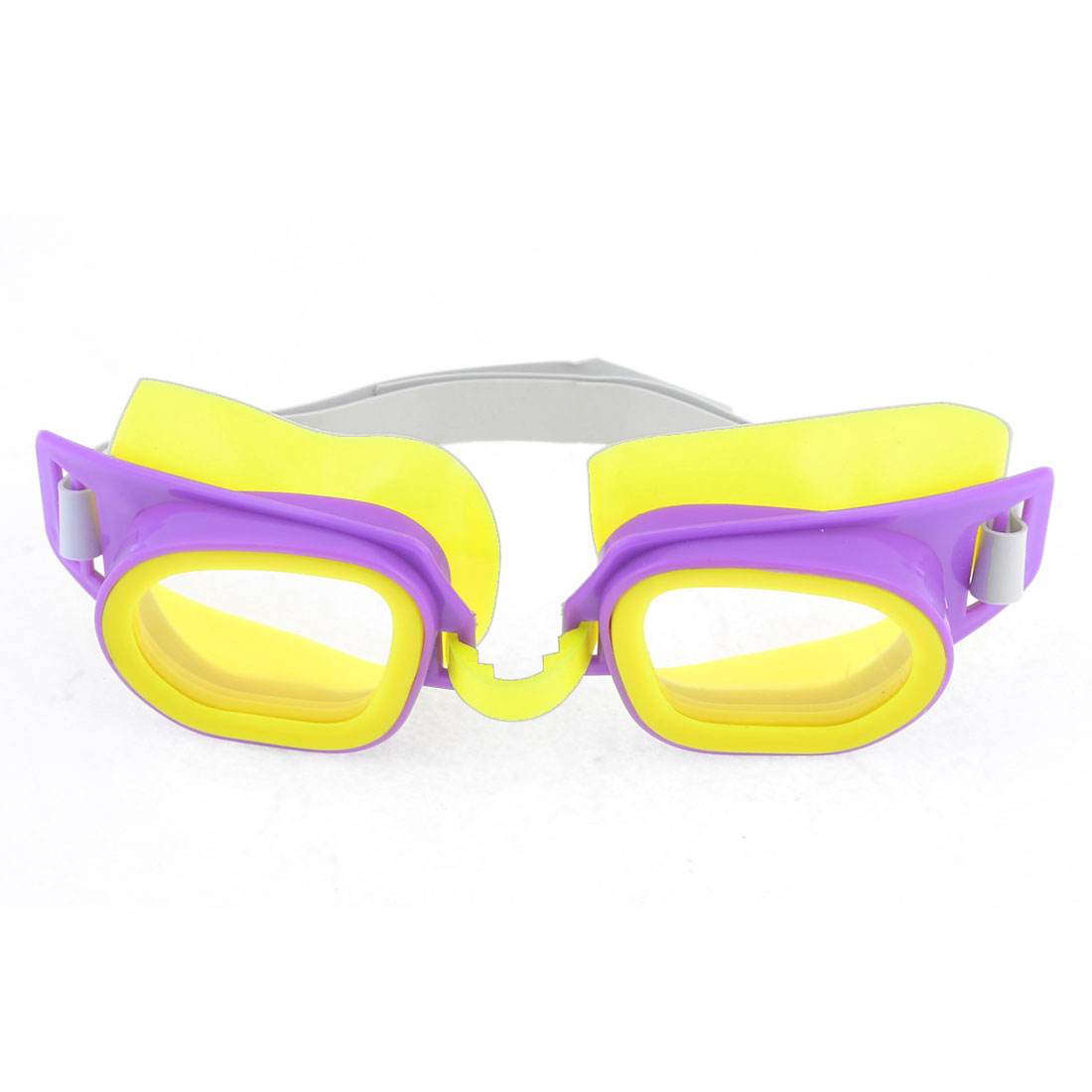Children Plastic Frame Elastic Strap Swimming Goggles Spectacles Purple Yellow