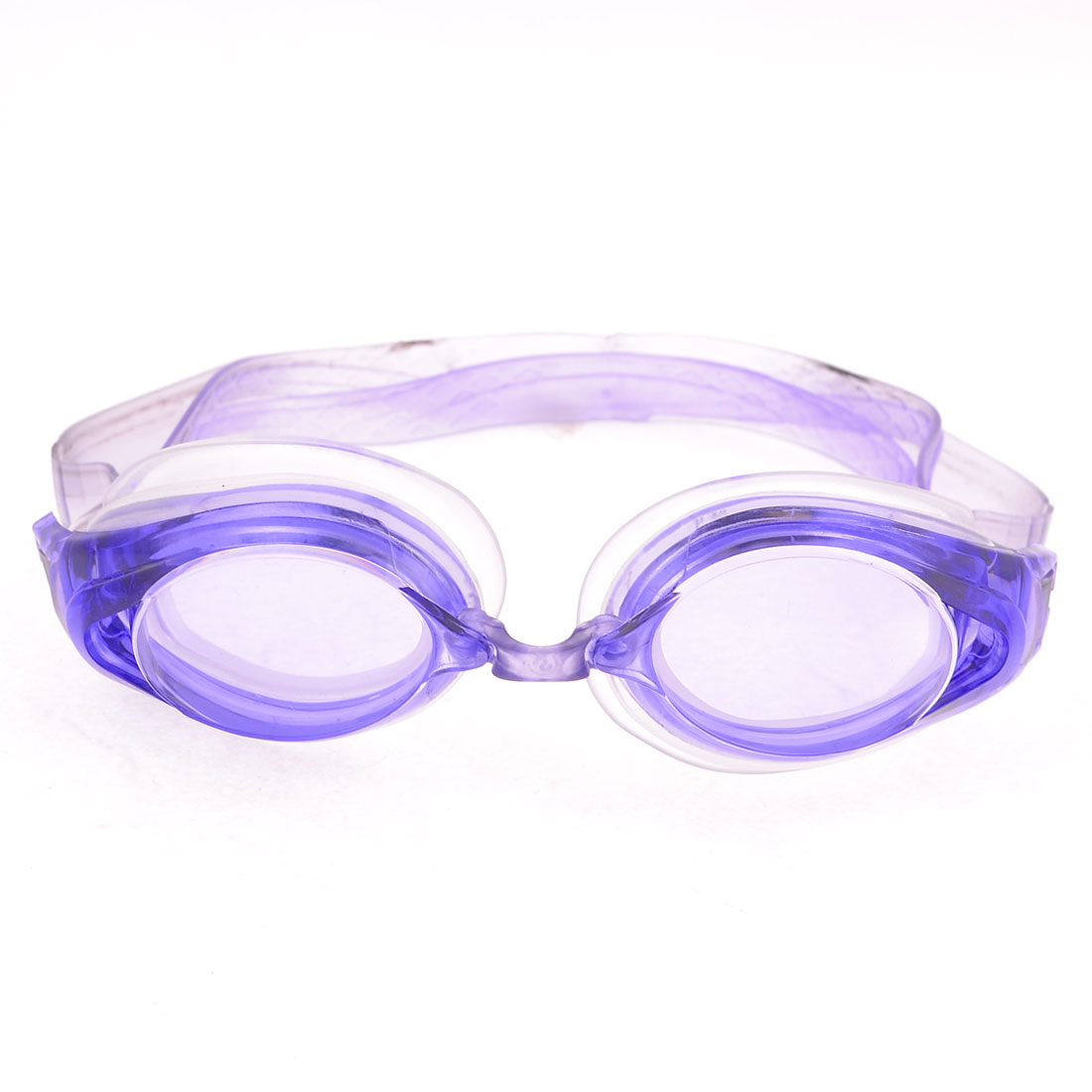 Silicone Adjustable Band Oval Lens Swimming Goggles Eyeglasses Light Purple w Earcap
