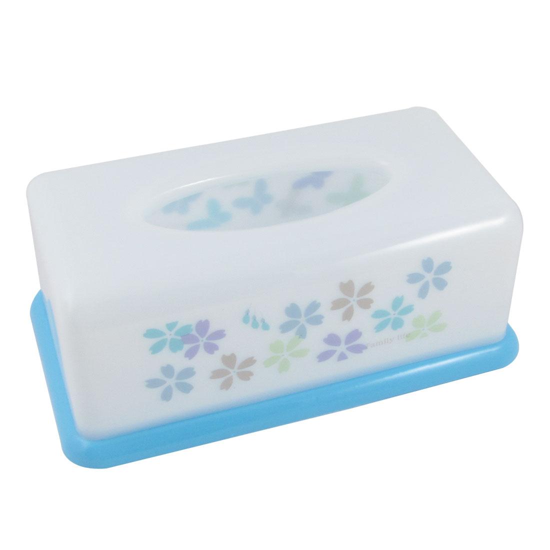 Home Butterfly Printed Plastic Rectangular Napkin Tissue Holder Blue White