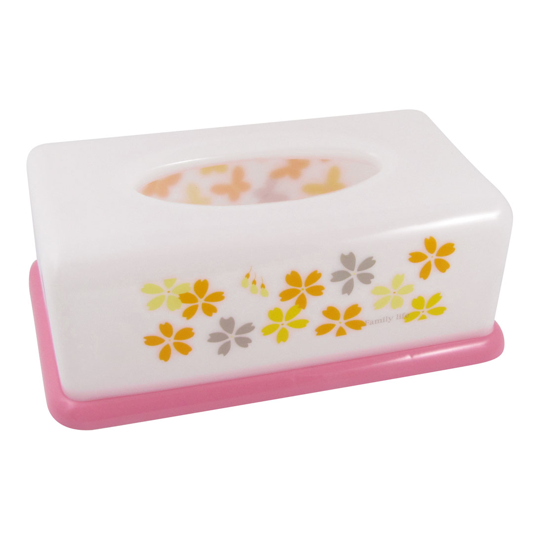 White Pink Rectangular Shape Butterfly Pattern Napkin Tissue Holder Box