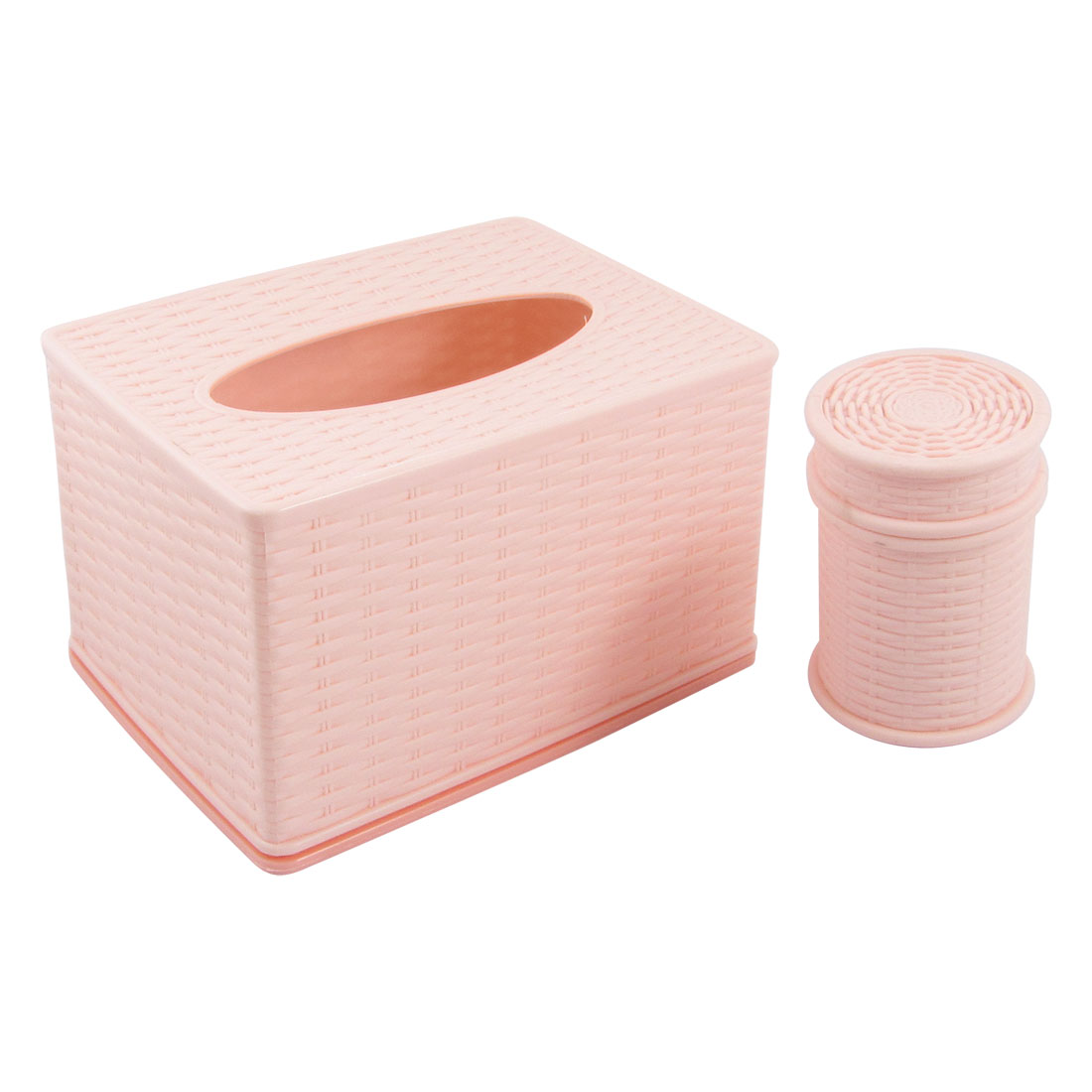 Knitted Pattern Light Pink Rectangular Plastic Tissue Holder w Toothpick Box