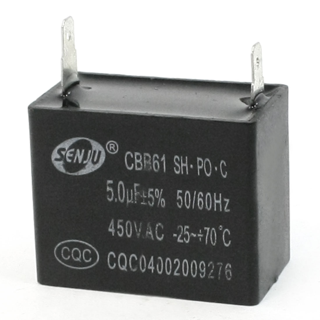 CBB61 5uF AC 450V 2-Terminal Rectangle Motor Capacitor 50/60Hz