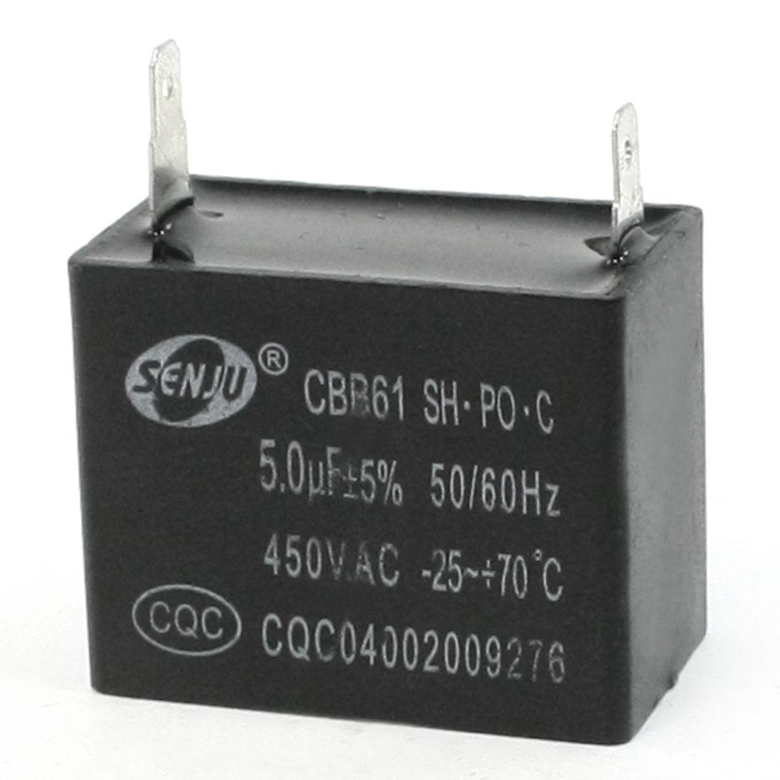 CBB61 5uF AC 450V 2-Terminal Rectangle Motor Capacitor 50/60Hz
