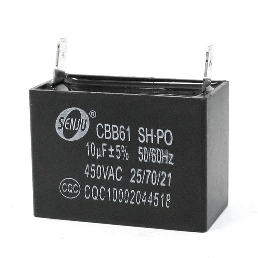 450VAC 10uF 50/60Hz Polypropylene Film Motor Run Capacitor